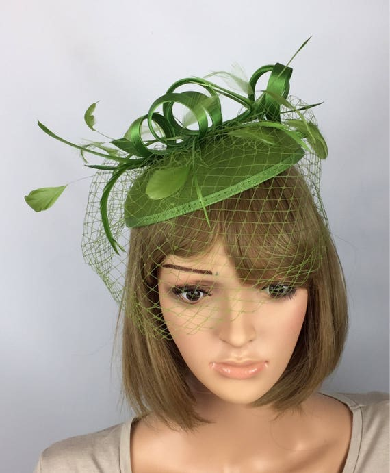 Green fascinator Green Hatinator Green Pillbox Hat Races  ea342732ebd
