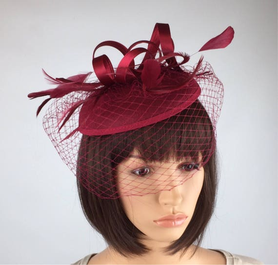 Burgundy fascinator hat maroon Wine Wedding Hatinator Pillbox  2853c60b47c