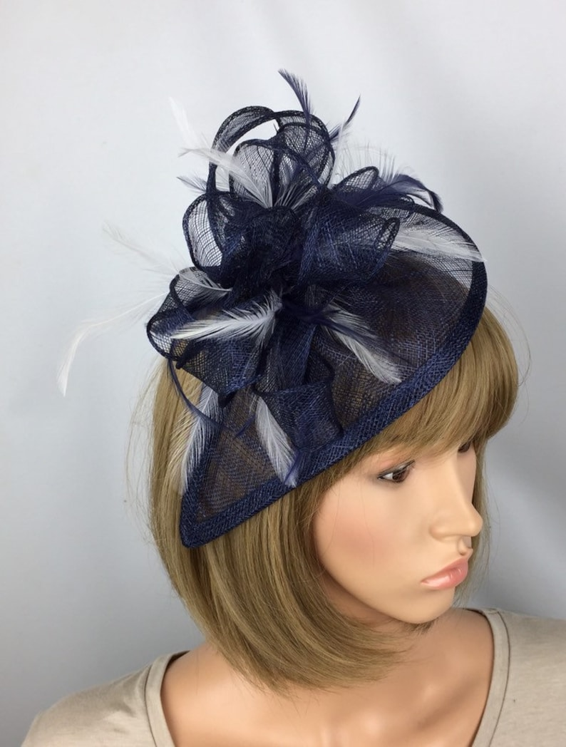 76752906 Bespoke Dark Navy Blue and White Fascinator Wedding Mother of the Bride  Ladies Day & Ascot Races Occasion Event