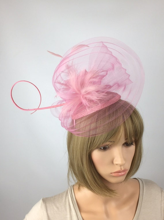 Pale Pink Fascinator with pleats of crin in dusky pink on a  706cc2b3430
