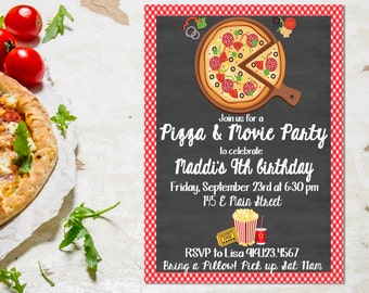 Pizza party invite etsy pizza and movie party invitation stopboris Image collections
