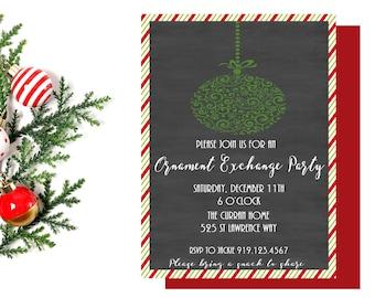 Ornament Exchange Party Invitation,  Christmas Party Invite,  Christmas Invitation,  Holiday Party,  Holiday Invitation,  Printable
