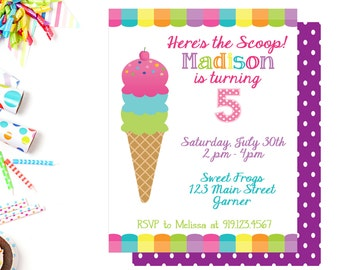 ice cream birthday party invitation birthday party invite etsy