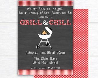 Backyard BBQ Invitation, Printable Barbecue Invite,  BBQ Party Invitation, Summer Party Invitation, Cookout Invitation, Grill and Chill