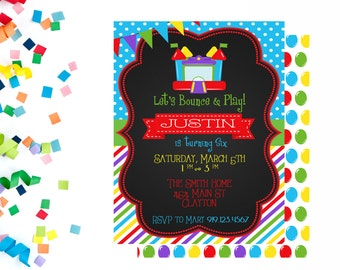 Bounce Party Invitation, Bounce Party Invite, Bounce Invitation, Bounce Invite, Bounce House Birthday Invitation, Birthday Invitation, Jump