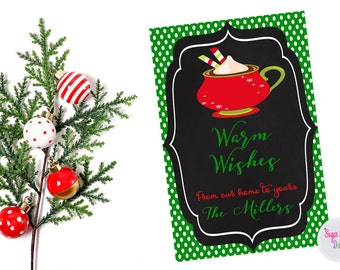 Merry Christmas Tags, Printable Personalized Holiday Tags, Christmas Gift Tags, Warm Wishes Tags, Hot Cocoa Tag, Favor Tags, Digital