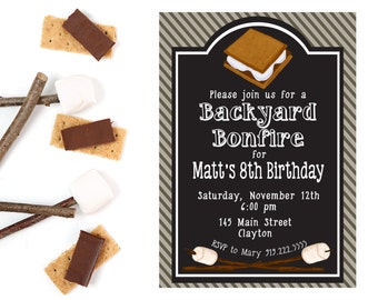 Bonfire Invitation Birthday Party Invitation Smores Invite Etsy