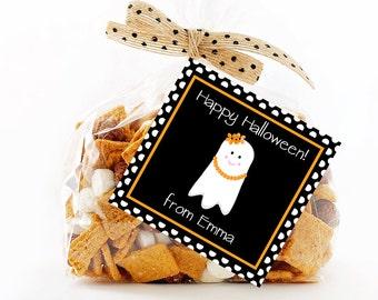 Halloween Treat Tags, Girl Ghost Tag, Printable Personalized Halloween Tags, Halloween Gift Tag, Halloween Tags, Treat Tag, Favor Tags