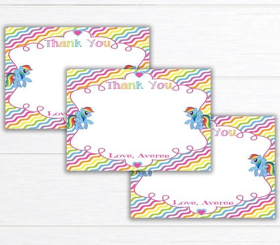 Rainbow Birthday Party Thank You Card Birthday Party Thank Etsy