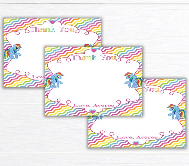 Rainbow Birthday Party Thank You Card Birthday Party Thank Etsy