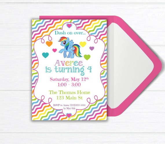 Rainbow Birthday Party Invitation Invite