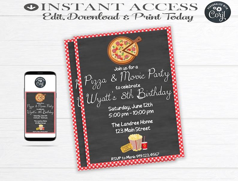 Pizza And Movie Birthday Party Invitation Pizza Party Pizza Etsy