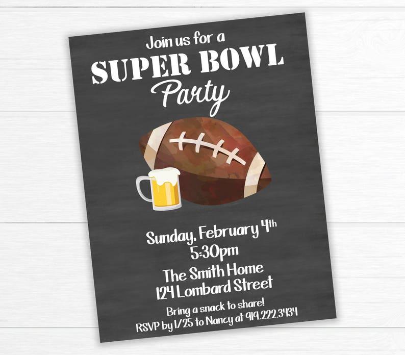 Super Bowl Invitation Football Party Invitation Superbowl Etsy