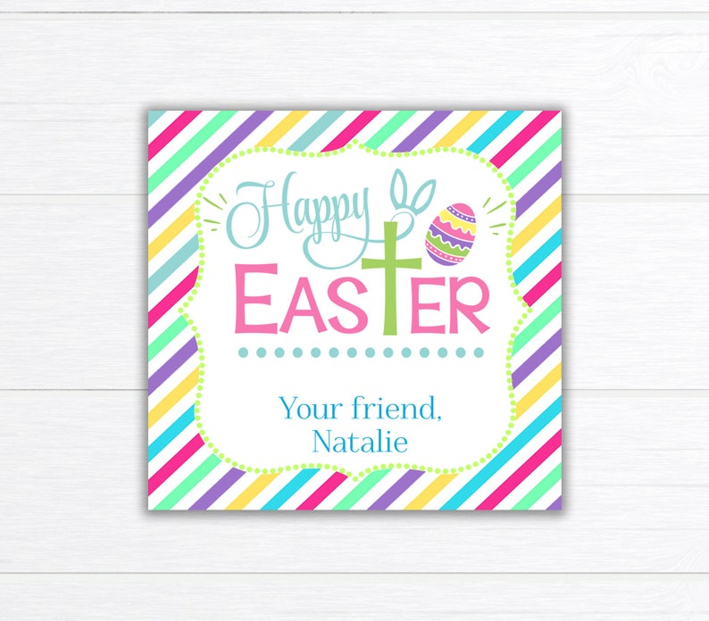 picture regarding Printable Easter Tag called Non secular EASTER Tag, Printable Easter Deal with Bag Topper, Social gathering Favors, Cross Easter Tag, Youngsters Clroom Obtain Tags, Easter Bag Topper
