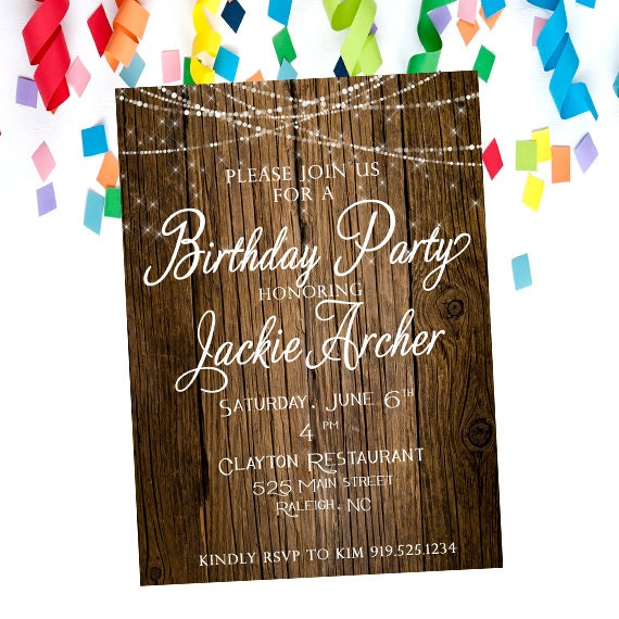 Rustic Birthday Party Invitation Adult Online