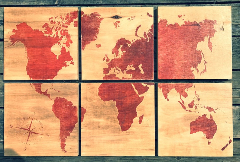 24x36 world map screen printed with red stain