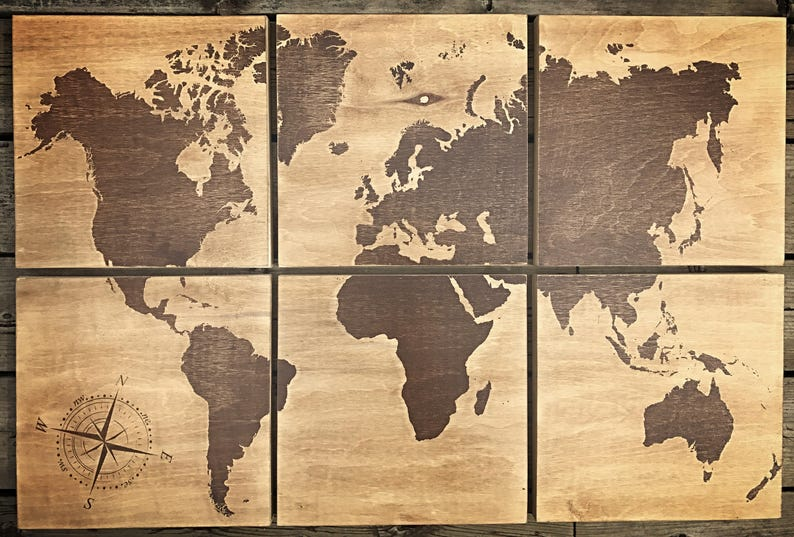 24x36 world map screen printed with brown stain | Etsy