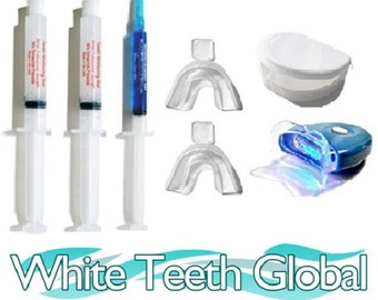 White Teeth Global Teeth Whitening at Home Super Kit 1 Syringe 44%, 1 Remineralization Gel , 1 Light, 2 Mouth Trays, 1 Case
