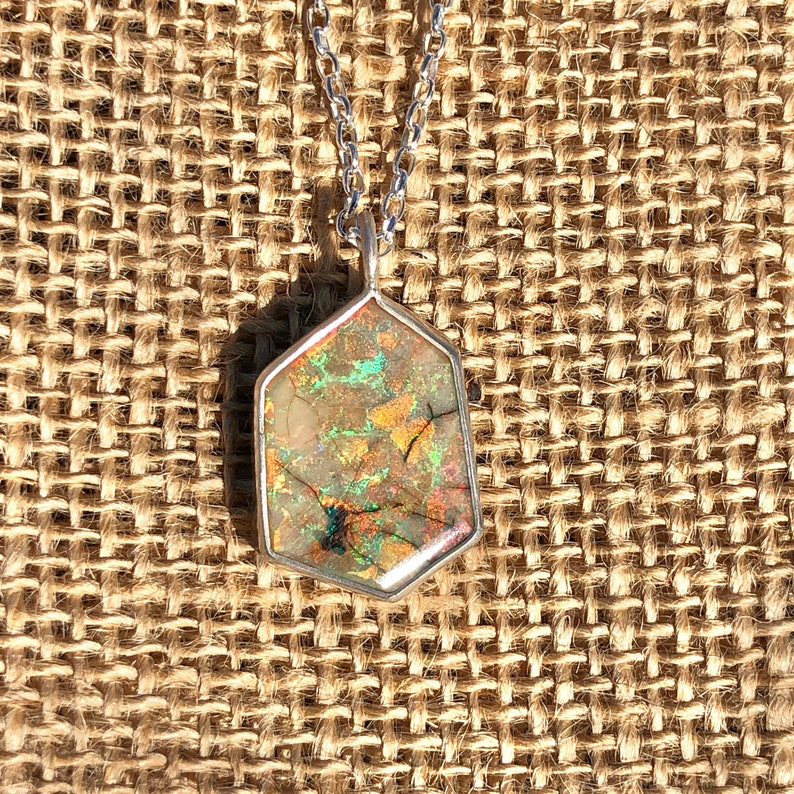 with fiery green and orange flashes sterling silver Polygon shaped cultured opal pendant peaches and cream