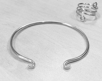 Sterling silver open bangle, Open cuff bracelet, Delicate bangle bracelet, Curled cuff bracelet, Minimalist jewelry