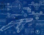 Star Trek Enterprise New - USS 1701 Blueprint Art Print ( Enterprise from the new films)