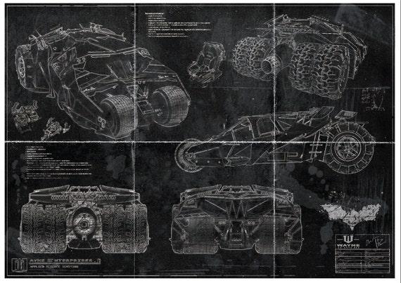 Batman batmobile tumbler blueprint art print a2 420mm594 etsy image 0 malvernweather Gallery