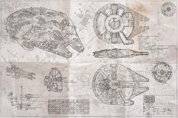 Millennium Falcon Blueprint 233 Dition Photocalques Blancs Etsy