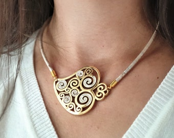 Wine Cork Choker Geode Inspired Charm Necklace