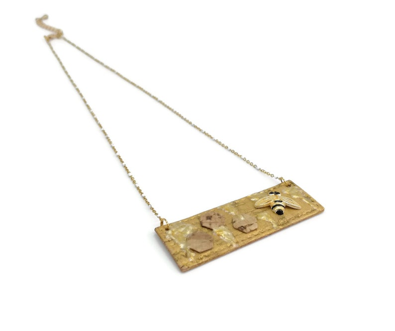 with enameled honey and bees Cork beehive bar necklace cork gold long bar necklace gold bar bee necklace rectangular beehive necklace