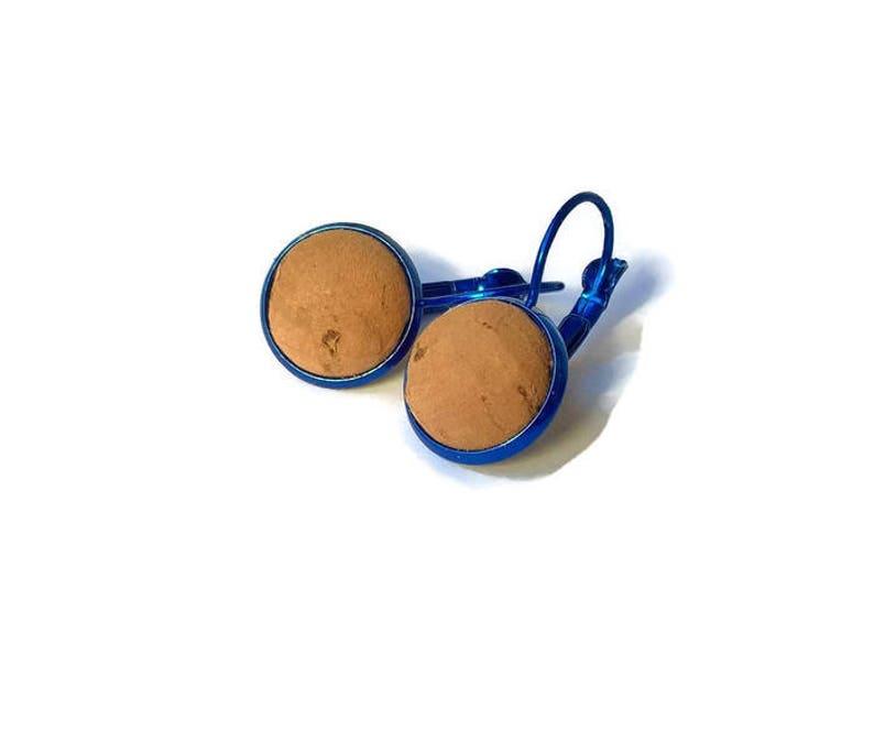 cork jewelry Cork ball earrings cork earrings half sphere earrings vegan earrings vegan jewelry blue cork earrings Portuguese jewelry