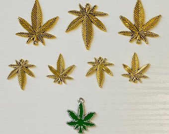 10  Marijuana Leaf  Gold Tone Charms GC5739
