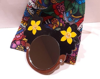"""2"""" Black Afro Puffs Mirror Girl // Yellow Flowers w/Glitter and Rhinestones // Rhinestone Earrings // Handmade Pouch Included"""