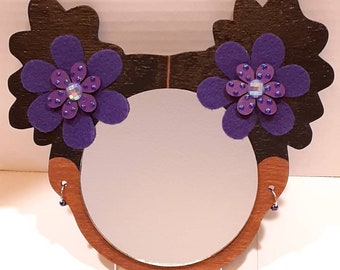 """4"""" Afro Puffs Wall Decor Mirror Girl // Purple Felt and Hand-painted Glitter Dot Wood Flower // Metal and Acrylic Bead Hoop Earrings"""