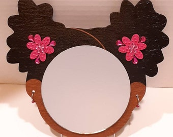 """4"""" Afro Puffs Wall Decor Mirror Girl // Shades of Pink Hand-painted Glitter Dot Wood Flower // Metal and Acrylic Bead Hoop Earrings"""