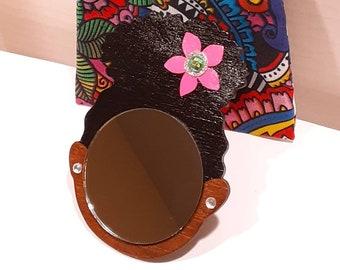"2"" Black Afro Puff Mirror Girl // Pink Flower w/Silver Glitter and Rhinestone // Rhinestone Earrings // Handmade Pouch Included"