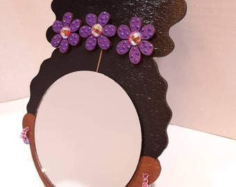 """4"""" Curly Afro Puff Wall Decor Mirror Girl // Purple & Pink Wood Flower Trio // Beaded Hoop Earrings // Afrocentric Art"""
