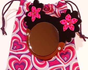 """2"""" Black Afro Puffs Mirror Girl // Pink Flowers w/Glitter Dots and Rhinestones // Rhinestone Earrings// Handmade Pouch Included"""
