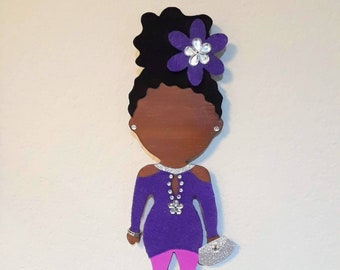 """Sparkle and Shine in Purple and Pink // OOAK // Handpainted 11"""" Wood Doll Wall Art // Afrocentric Art //Gifts for her"""