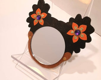 """2"""" Black Afro Puffs Mirror Girl // Orange with Gold & Lime Glitter Purple Bead Flower // Gold Glitter Earrings// Handmade Pouch Included"""