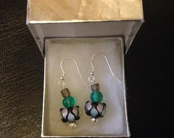 Silver & glass bead earrings