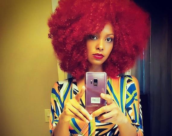 Raspberry Red 'RiRi' Kinky Curly Wig Unit Mixed Human