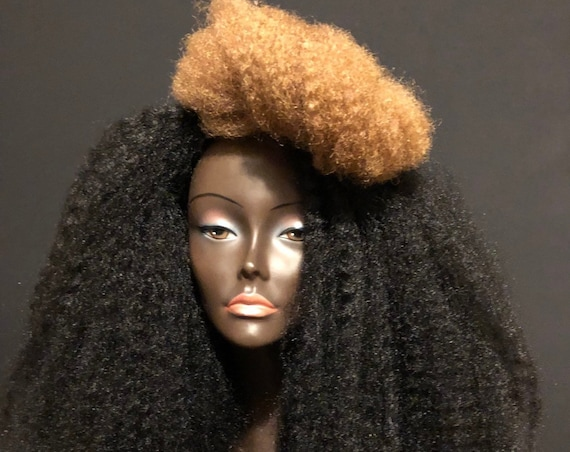 Essence Wigs Black Blonde Two Tone Streak Wig Unit Natural Hair Kinky