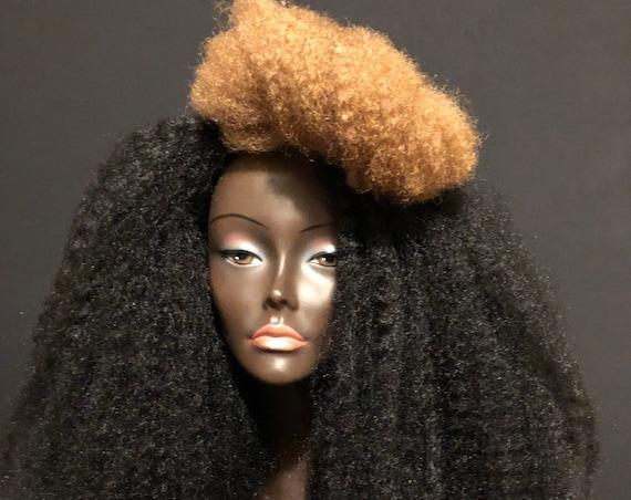 Essence Wigs Black Blonde Two Tone Streak Wig Unit Natural Hair Kinky