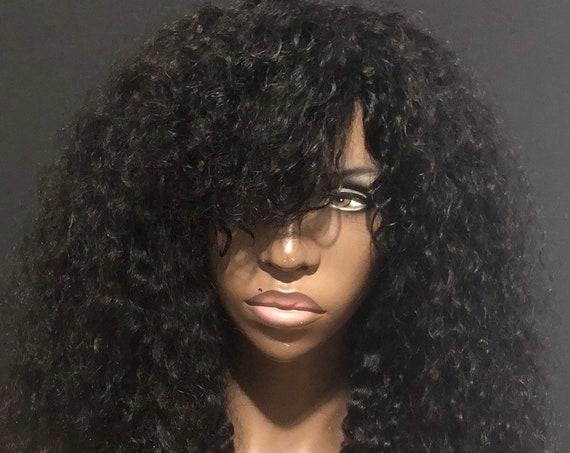 Essence Wigs 100% Human Hair Black Swoop Bangs Wig Natural Hair Curly Wig Unit