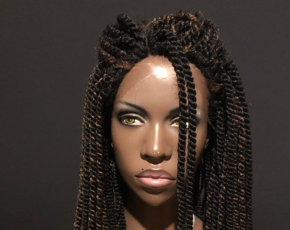 Lace Front Mini Twists Crochet Wig Brown Highlights Essence Wigs