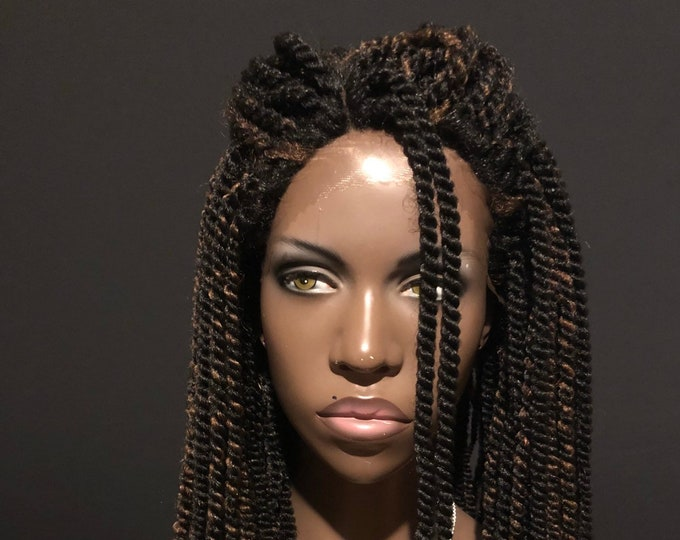 Lace Front Mini Twists Wig Brown Highlights Essence Wigs