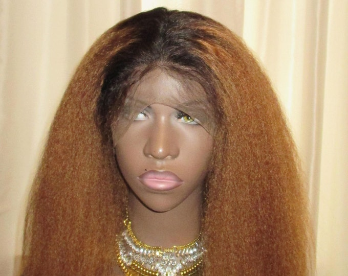 100% Human Hair Kinky Straight Wig Italian Yaki Texture Lace 360 Ombre Blonde Black