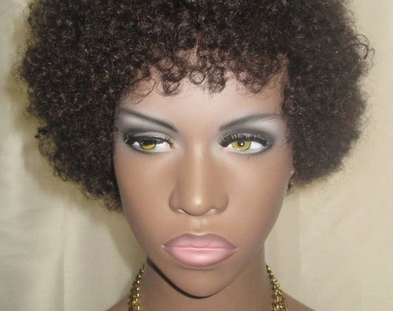 "Essence Wigs ""Baby Bee Curls"" 100% Remy Human Hair Black Wig Kinky Afro Wig Unit 4b 4a TWA"
