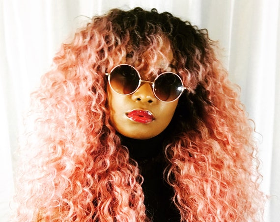 "New Essence Wigs BANGS ""Ain't Nothing but A Pink Thang"" LONG Lace front Wig Natural Hair Kinky Curly Beach Waves Wig Pink Ombre"