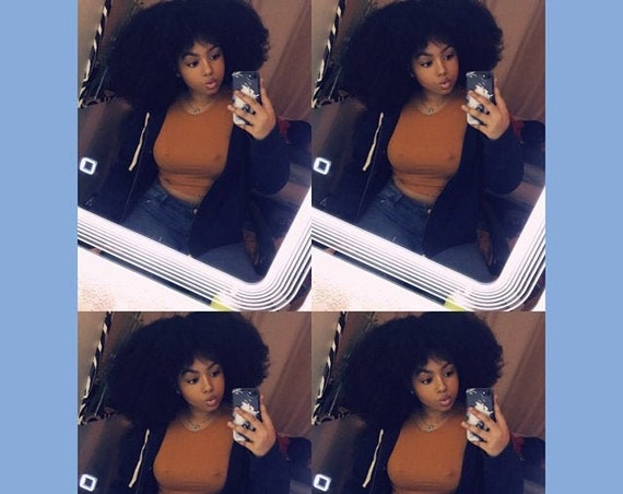 Essence Wigs Gorgeous 4A Bangs Afro Kink Bohemian Vibe Fro Afro Lace front Wig Natural Hair Lace Wig Unit Full Cap